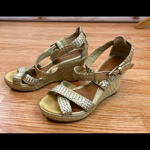 SPERRY topsider Gold Leather Metallic Wedge 7 M